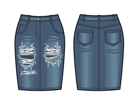 Blue vector illustration of womens jeans skirt. Front and back views 向量圖像