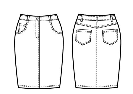 Black and white vector illustration of womens jeans skirt. Front and back views