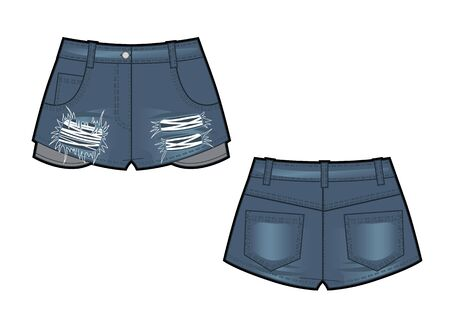 Vector illustration of jean shorts. Clothes in denim style. Front and back views