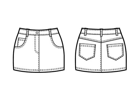 Vector black and white sketch of denim mini skirt Ilustracje wektorowe