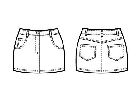 Vector black and white sketch of denim mini skirt Vektorové ilustrace