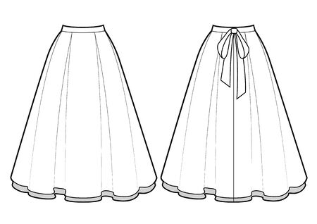 Smart skirt vector template isolated on a white background. Front and back view