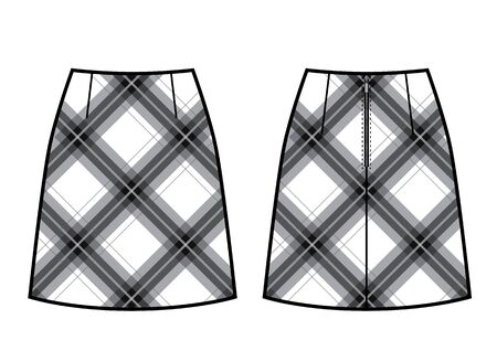 A-silhouette skirt vector checkered print. Front and back view