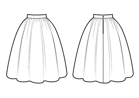 Retro skirt vector template isolated on a white background. Front and back view