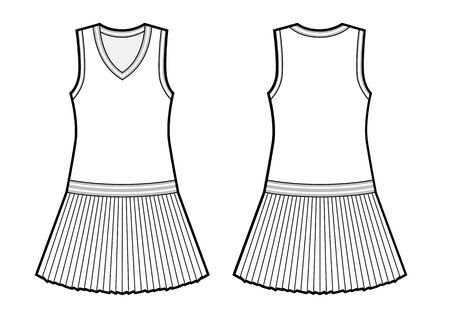 womans tennis dress black and white sketch. Vector template