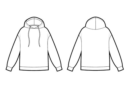 Technical sketch of man hooded sweatshirt in vector graphic. Vector template