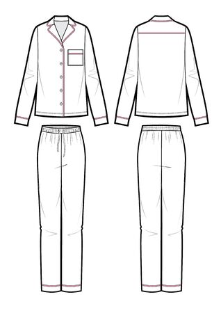 Silk pajama set. Cardigan and pants. Isolated vector. Vector Illustration