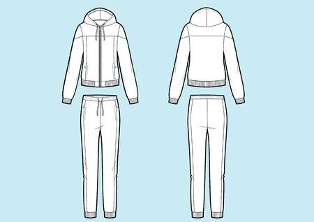 Vektorillustration des Sportanzugs der Frauen. Pullover und Hose. Vorder- und Rückseitenansichten. Kapuzenjacke Vektorgrafik