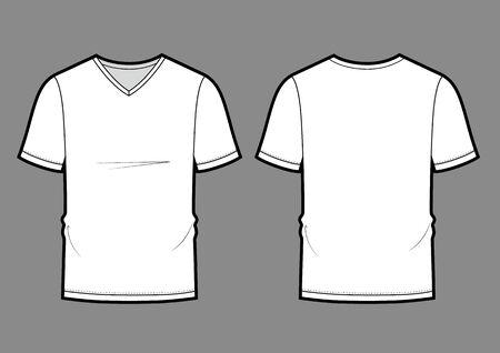 mens white V-neck t-shirt design templates (front, back views). Vector illustration.