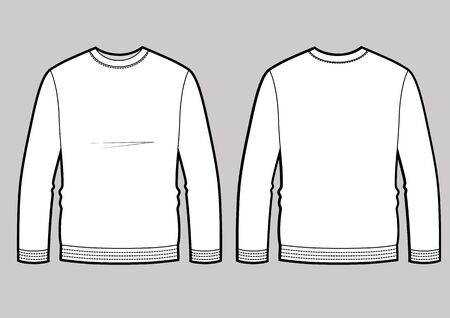 Longsleeve t-shirt illustration with round neck, vector template