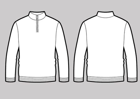 Longsleeve t-shirt illustration with zipper on the neck