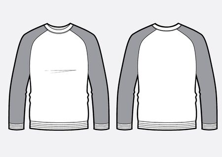 Longsleeve raglan t-shirt illustration with round neck