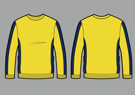 Longsleeve t-shirt illustration with round neck color, yellow and blue colors