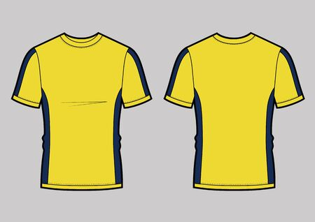 men's white short sleeve t-shirt design templates (front, back views). Vector illustration. Yellow and blue