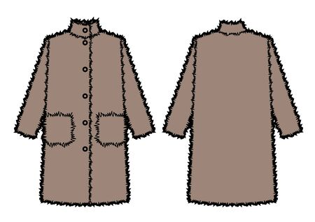 Vector illustration of women's maxi fur coat. Front and back views. Fashion sketch
