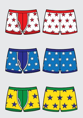 Set of mans underpants. Pattern with stars variants sketch. Vector illustration