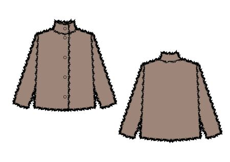 Vector illustration of womens fur coat. Front and back views