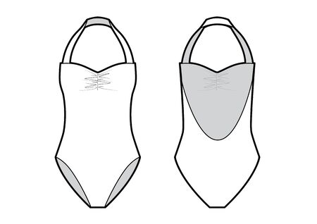 Vector illustration of women's one-piece swimsuit. Front and back views