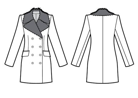 winter jacket with fur collar sketch. vector black and white illustration