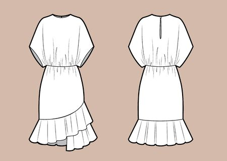 Dress one piece fashion vector illustration flat sketches template. Vector illustration