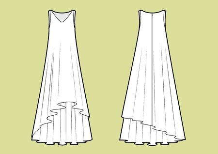 Vector illustration of maxi multilayer dress. Front and back. Women's clothes Illustration