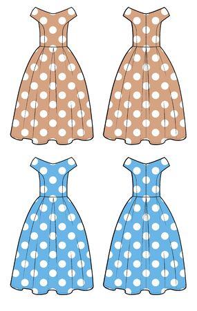 retro dress sketch set with polka dot print.