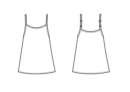 black tank t-shirt vector for womens. A-silhouette
