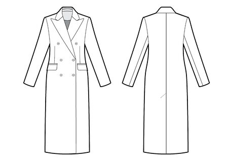 womans classic double breasted coat bw sketch, front and back