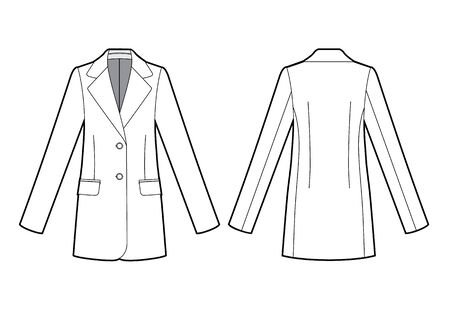 womans classic jacket bw sketch, fashion illustration, front and back Stock Illustratie