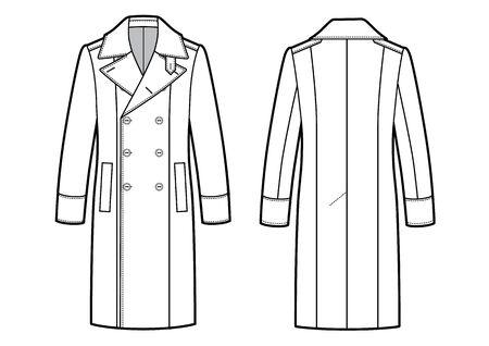 Vector illustration of mens trench coat.