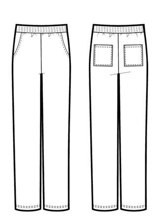Mans sport pants mockup. Vestor technikal sketch. Front and back views