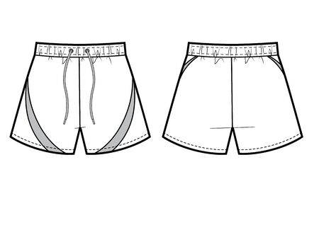 Mans sport shorts wide fit. Vestor technikal sketch