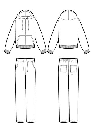 Vector illustration of sport suit: smock and pants. 일러스트