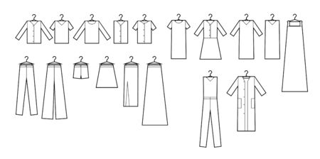 Clothing icons set . Set of clothing icons in black and white. Easy to edit, resize and colorize.