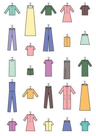 Clothing icons set . Set of colored clothing icons on white background. Simple design