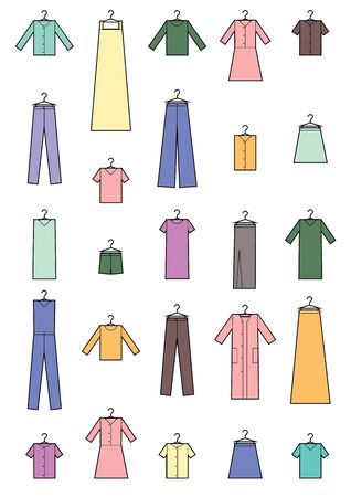 Clothing icons set . Set of colored clothing icons on white background. Simple design