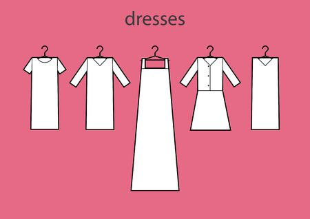 Dresses icons vector set. Vector. All types of women's dresses. Fashion