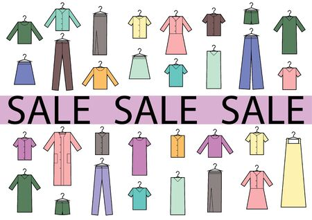 Clothing icons set with sale words. Set of clothing colored icons in white background. Shopping