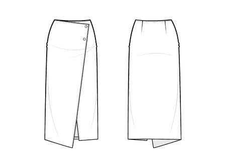 Pencil skirt. Fashion vector sketch. Asymmetric front veiw