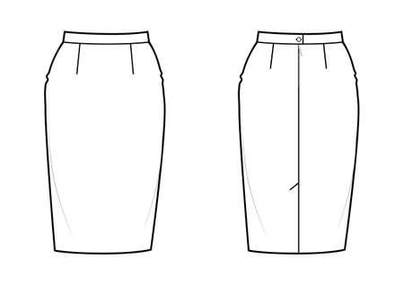 Classic knee-length pencil skirt, back zip clasp. Basic wardrobe essential.