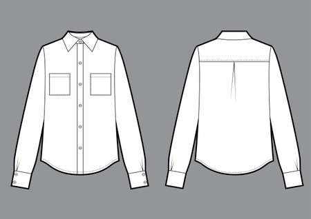 Long sleeve shirt, fashion flat sketch template. Vector sketch