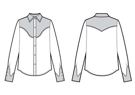 Long sleeve cowboy shirt, fashion flat black and white sketch template. Vector sketch Ilustração