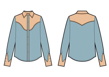 Long sleeve cowboy shirt, fashion flat sketch template. Vector sketch Ilustração
