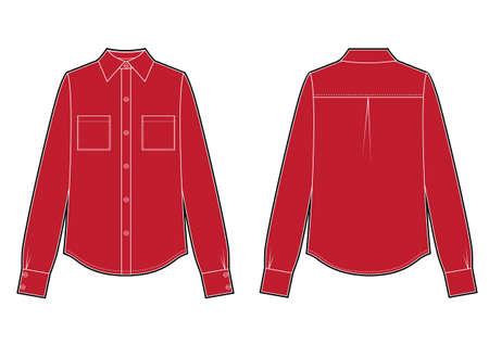 Long sleeve red shirt, fashion flat sketch template. Vector classic sketch Ilustração