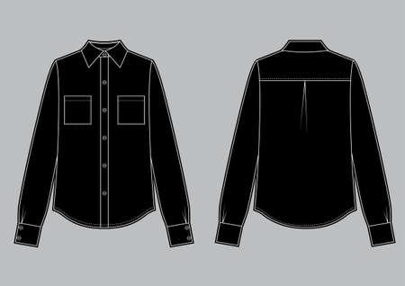Long sleeve black shirt, fashion flat sketch template. Vector sketch