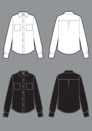 Long sleeve white and black shirts, fashion flat sketch template Vector Illustration