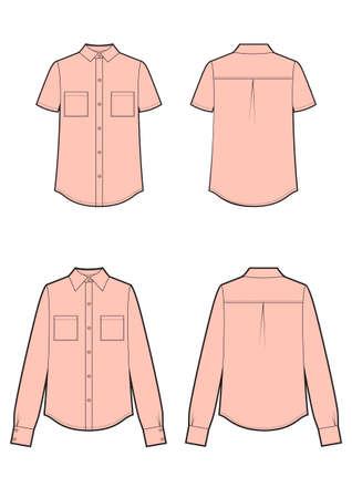 Womans pink shirt and short sleeves shirt isolated vector set