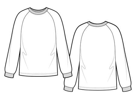 Woman sweatshirt with raglan sleeves. Vector template