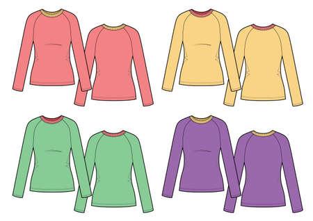 Set of womans multicolor t-shirts longsleeve. Vector