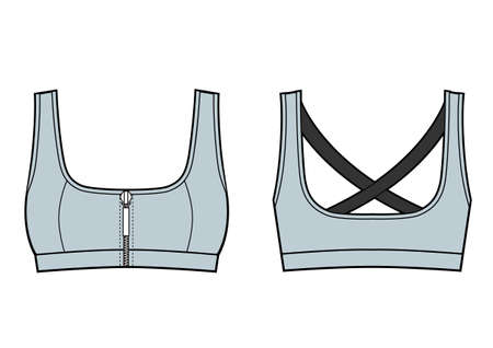 Woman Sport Bra Training Top. Front and back view